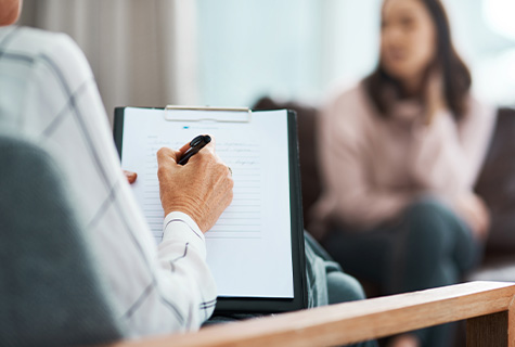 woman in mediation divorce counseling